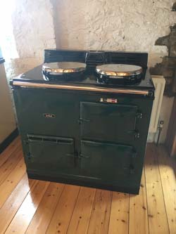 Refurbished British Racing Green Two oven gas fired power flue AGA